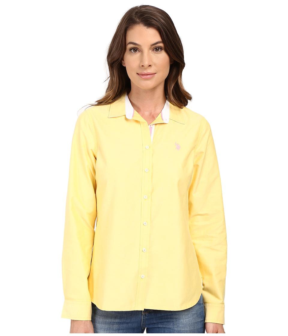U.S. POLO ASSN. - Long Sleeve Solid Oxford Shirt (Maize) Women's Long Sleeve Button Up