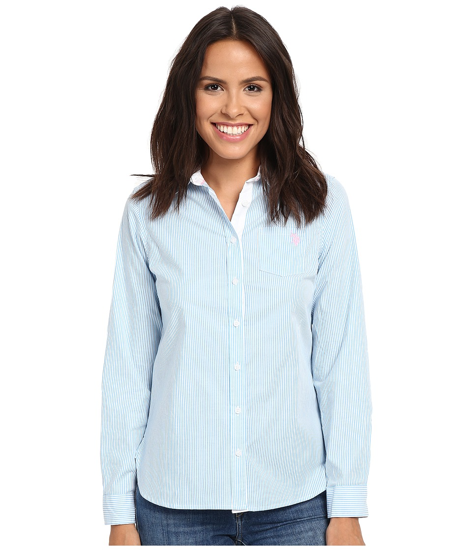 U.S. POLO ASSN. - Long Sleeve Vertical Stripe Shirt (Alaskan Blue) Women's Clothing