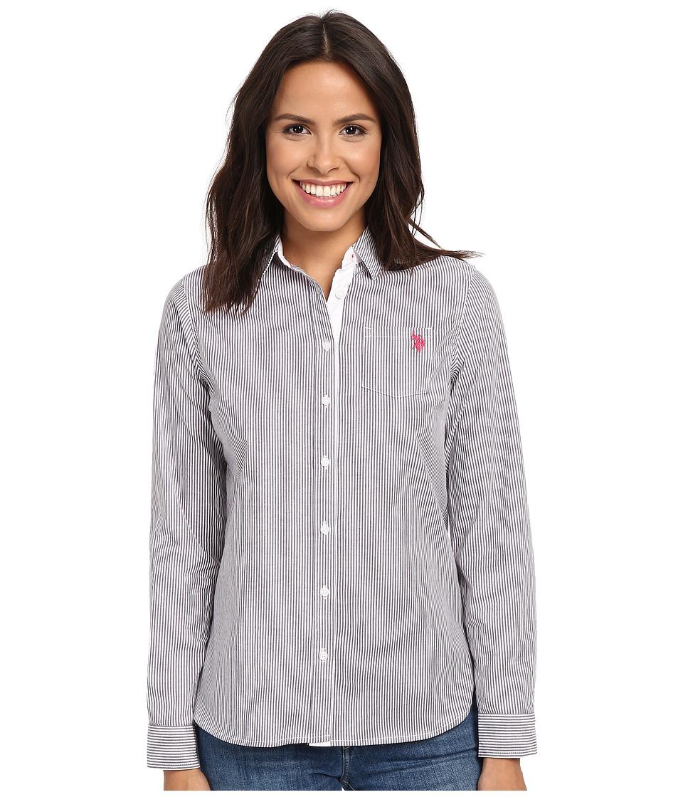U.S. POLO ASSN. - Long Sleeve Vertical Stripe Shirt (Crown Jewel) Women's Clothing