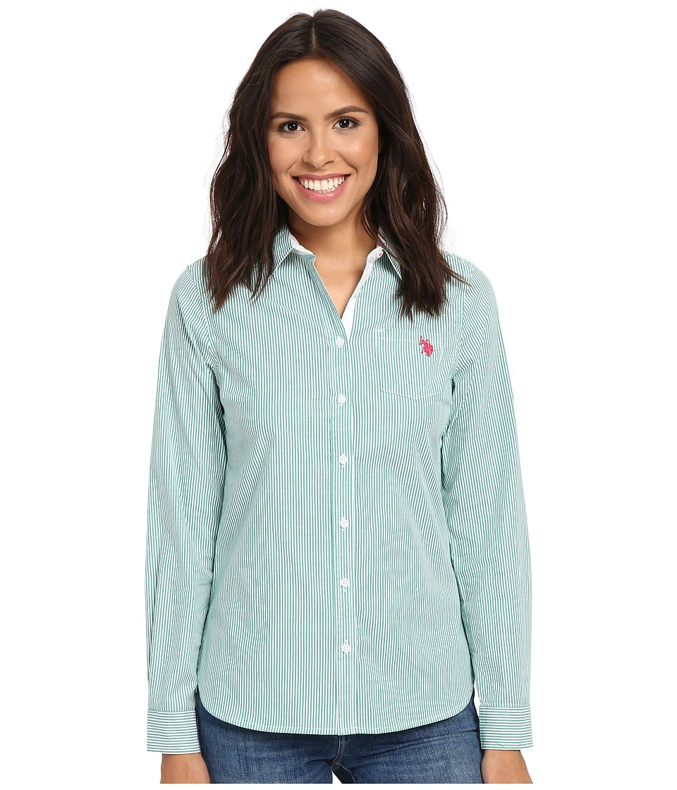 U.S. POLO ASSN. - Long Sleeve Vertical Stripe Shirt (Pepper Green) Women
