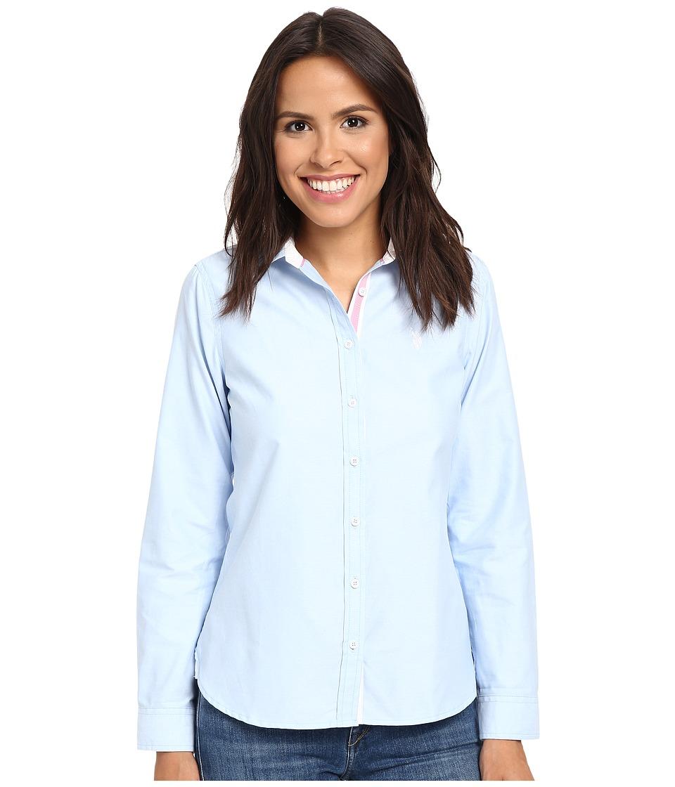 U.S. POLO ASSN. - Long Sleeve Solid Oxford Shirt (Classic Blue) Women's Long Sleeve Button Up