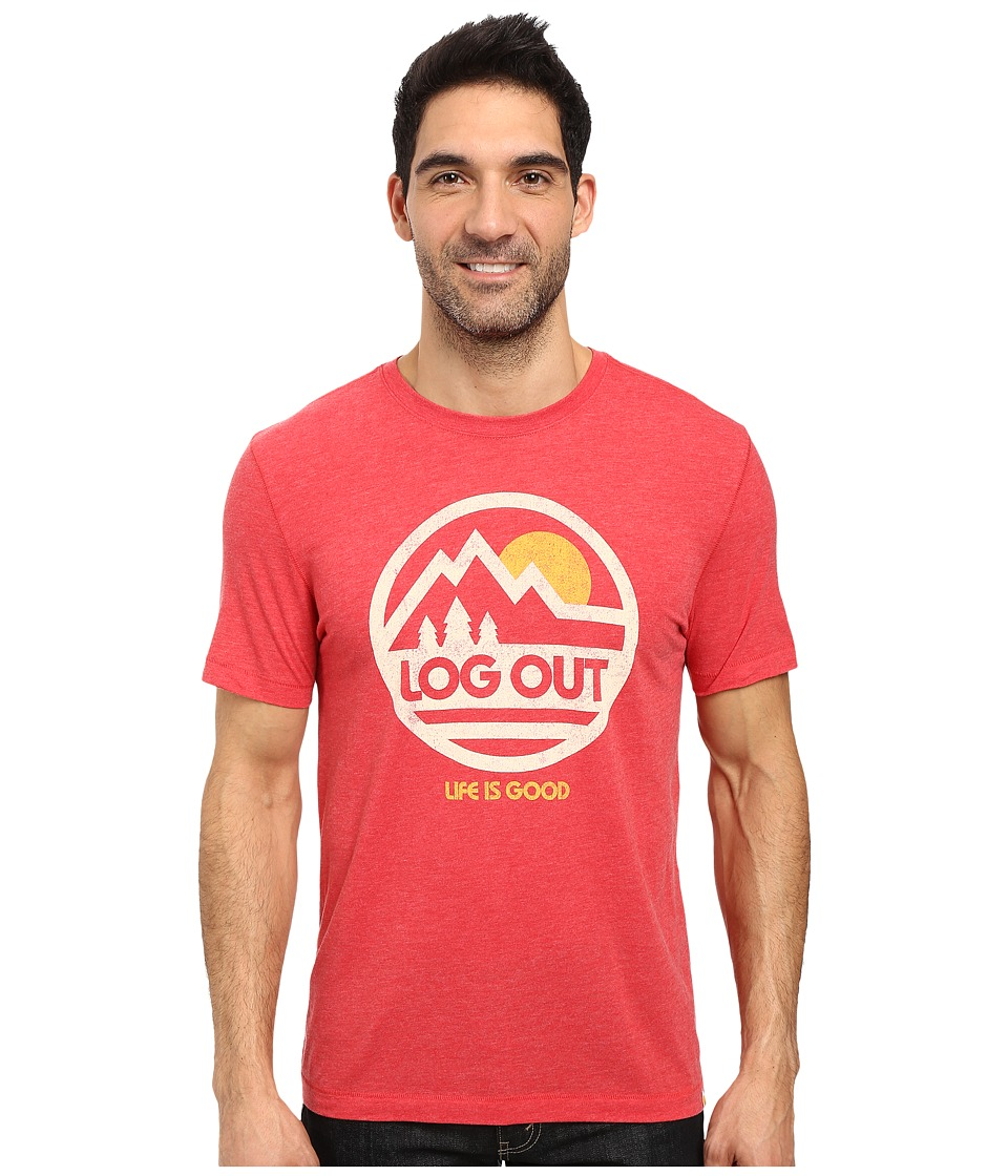 Life is Good Log Out Circle Mountain Cool Tee (Simply Red) Men