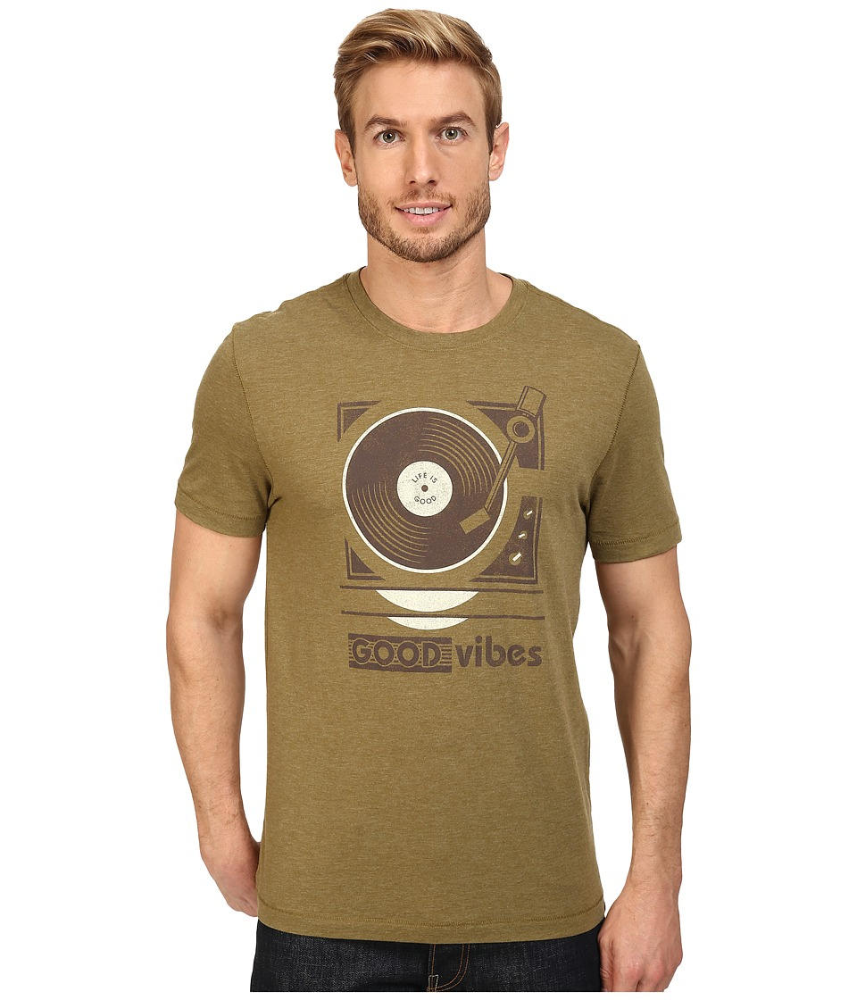 Life is Good - Good Vibes Record Player Cool Tee (Woodland Green) Men's T Shirt