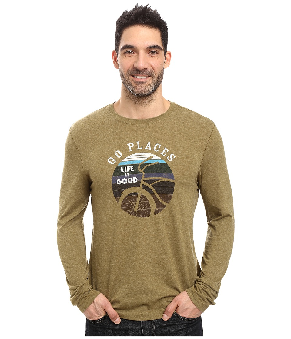 Life is good - Go Places Stripes Long Sleeve Cool Tee (Woodland Green) Men's Long Sleeve Pullover