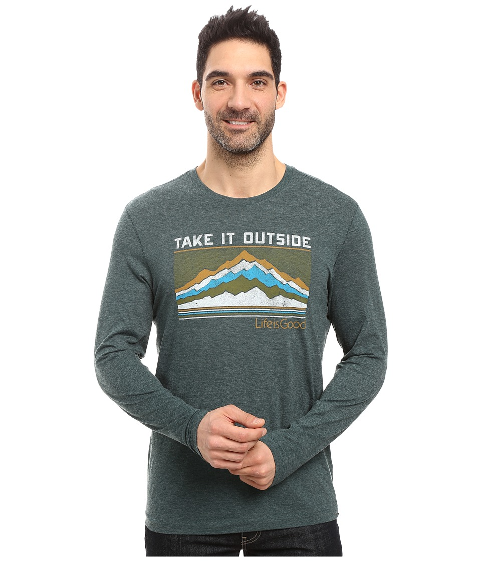 Life is good - Take It Outside Peaks Long Sleeve Cool Tee (Balsam Green) Men's Long Sleeve Pullover