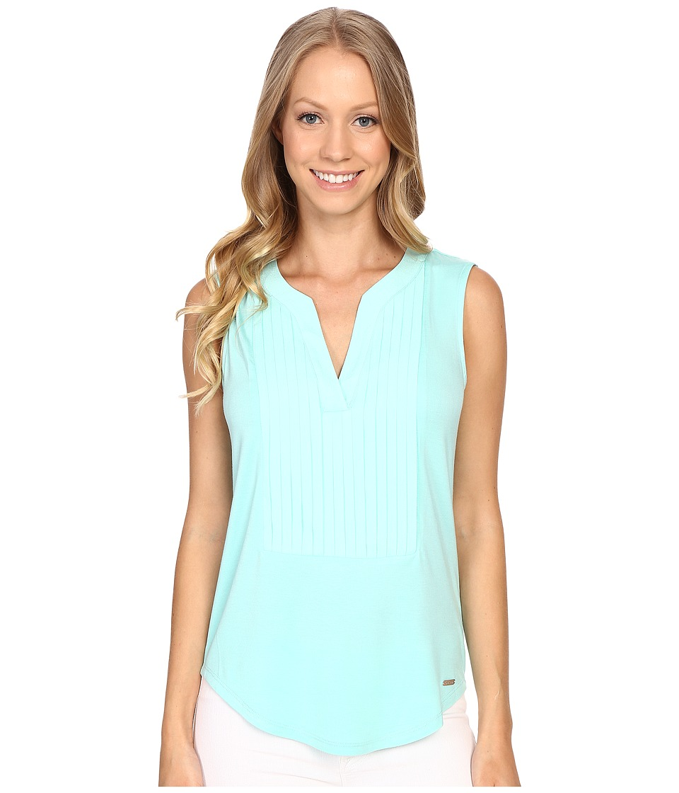 Calvin Klein - Sleeveless Top w/ Pleat Front (Seaglass) Women's Sleeveless
