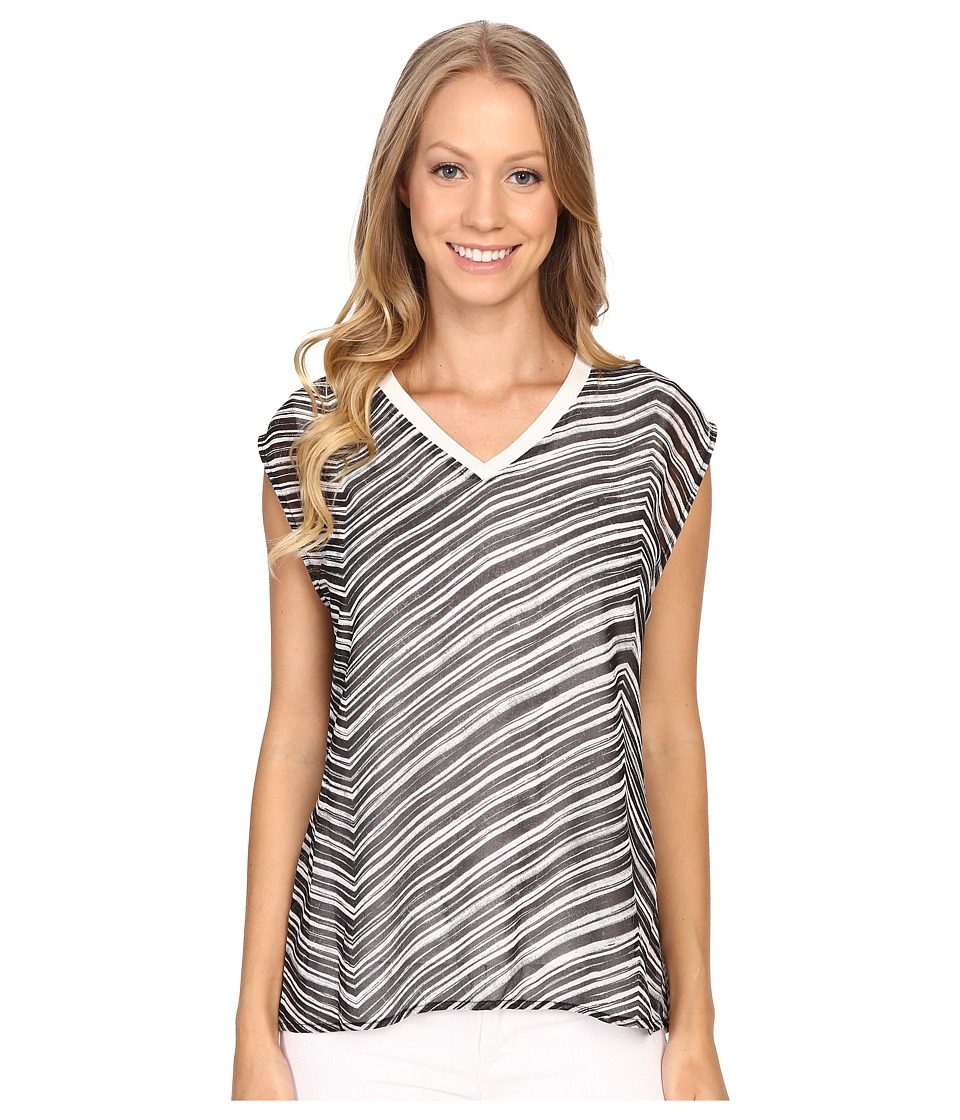 Calvin Klein - V-Neck Chiffon Layer Top (Black Stripe) Women's Sleeveless
