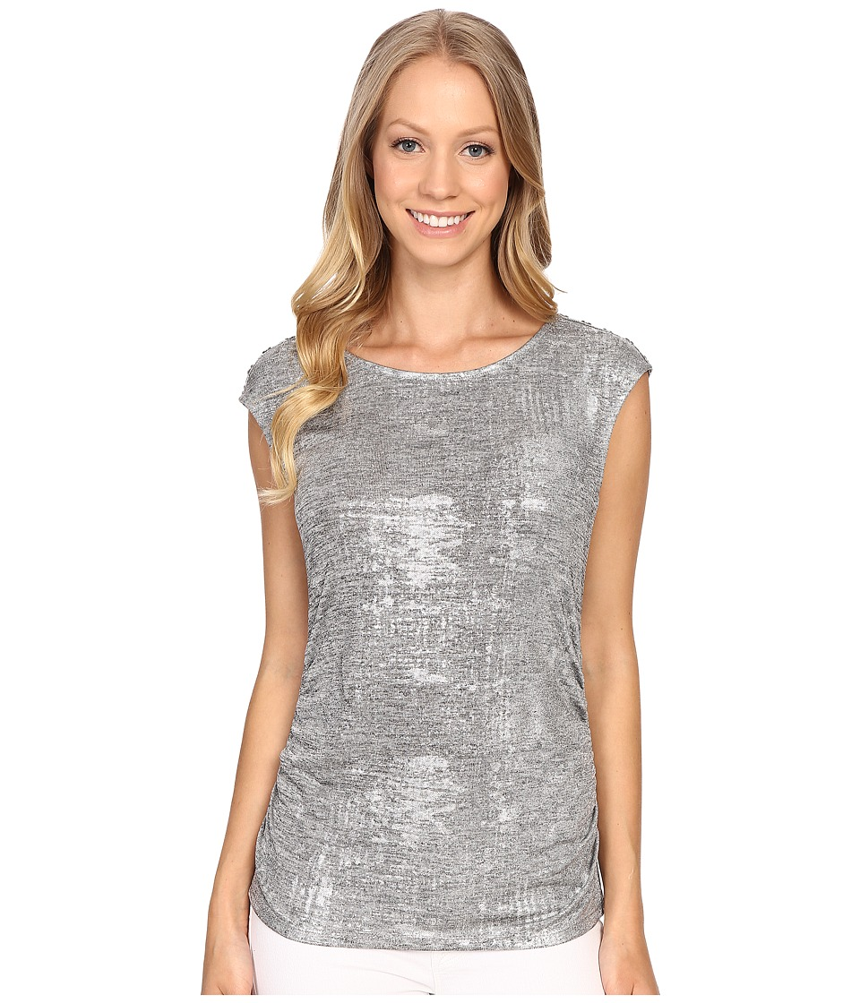 Calvin Klein - Sleeveless Top w/ Shoulder Buttons (Metallic Silver) Women's Sleeveless
