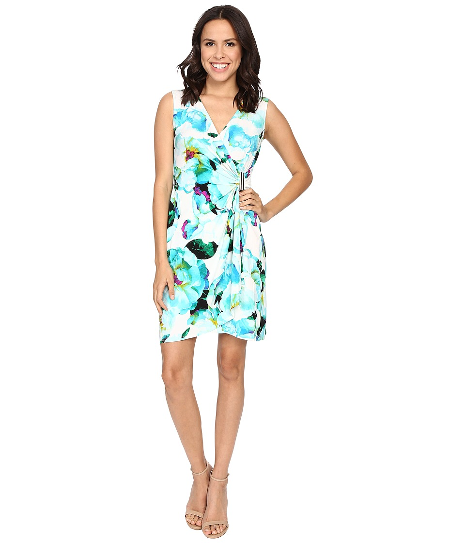 Calvin Klein - Sleeveless Wrap Dress (Cerulean Multi) Women's Dress