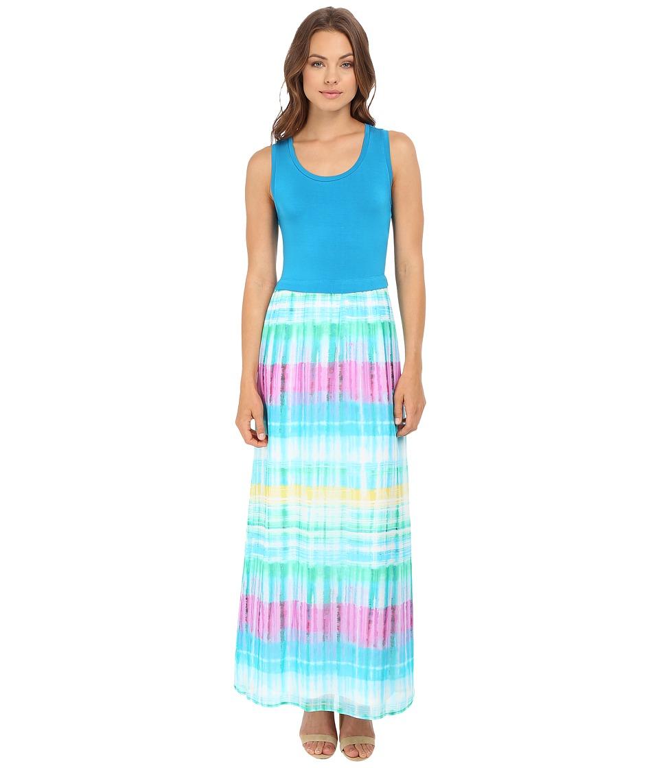 Calvin Klein Maxi Dress w/ Chiffon Bottom (Grass Combo) Women