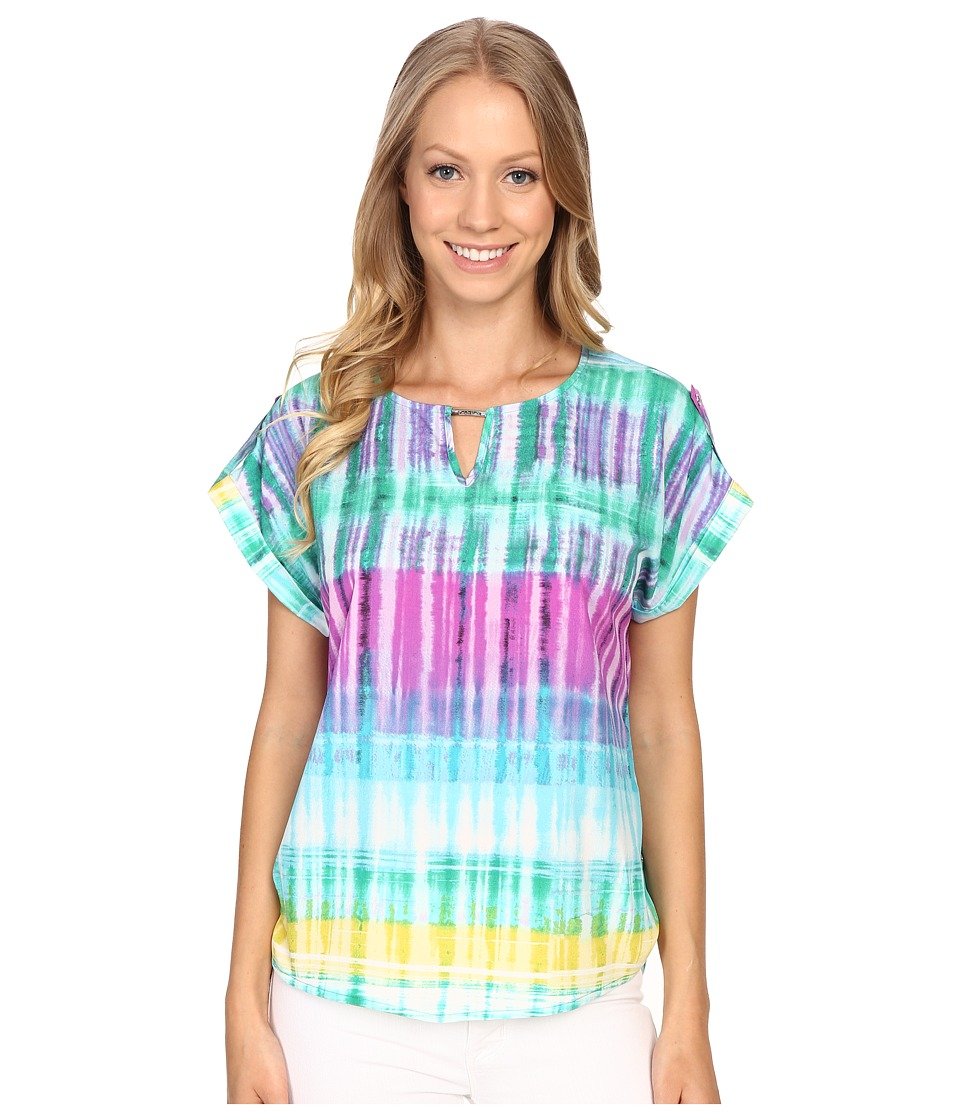 Calvin Klein - Printed Short Sleeve Top w/ Bar Hardware (Grass Combo) Women's Blouse