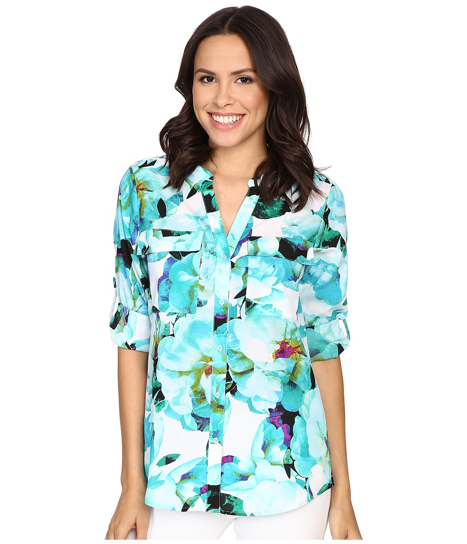 Calvin Klein - Printed Roll Sleeve Blouse (Cerulean Multi) Women's Blouse