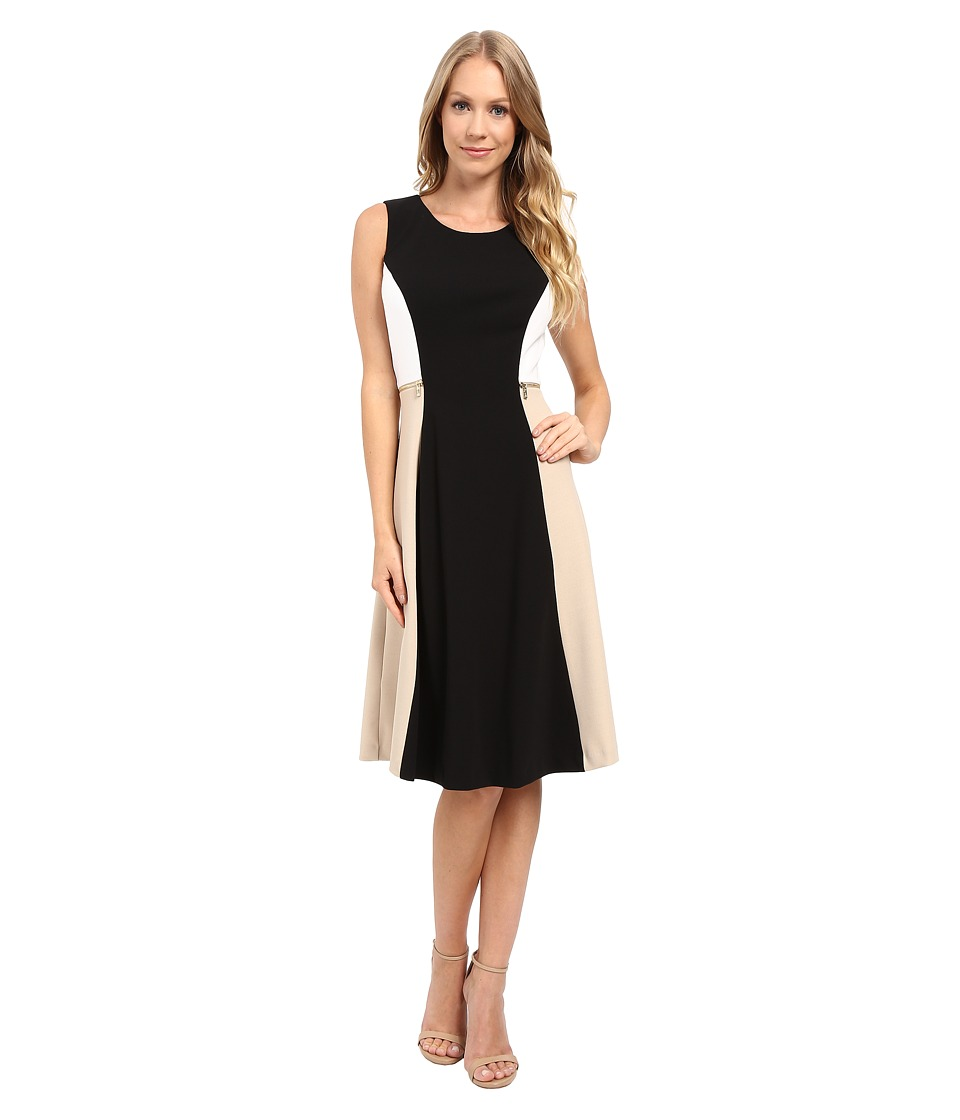 Calvin Klein - Color Block Flare Dress (Black) Women's Dress