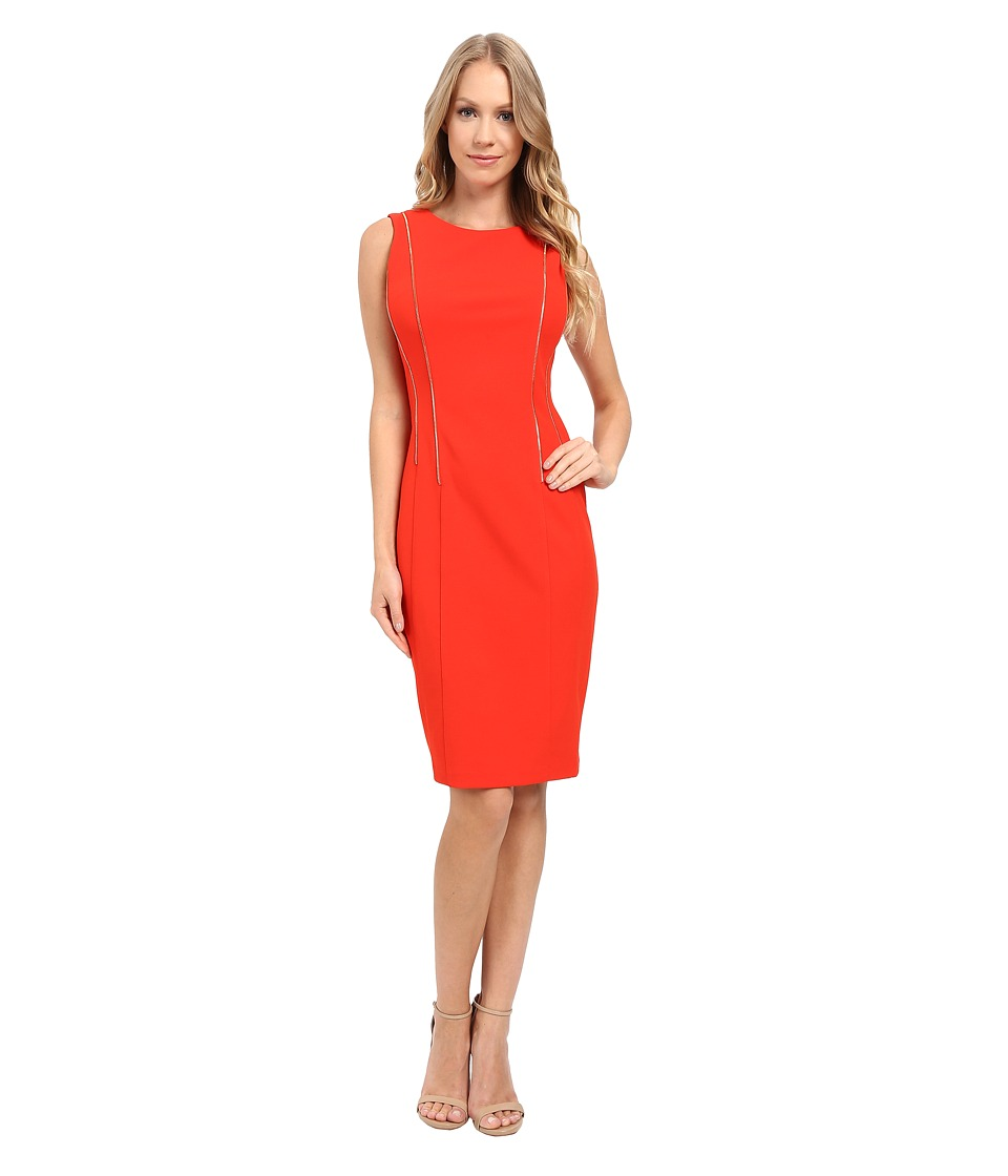Calvin Klein - Sheath Dress w/ Zipper Detail (Tango Red) Women's Dress