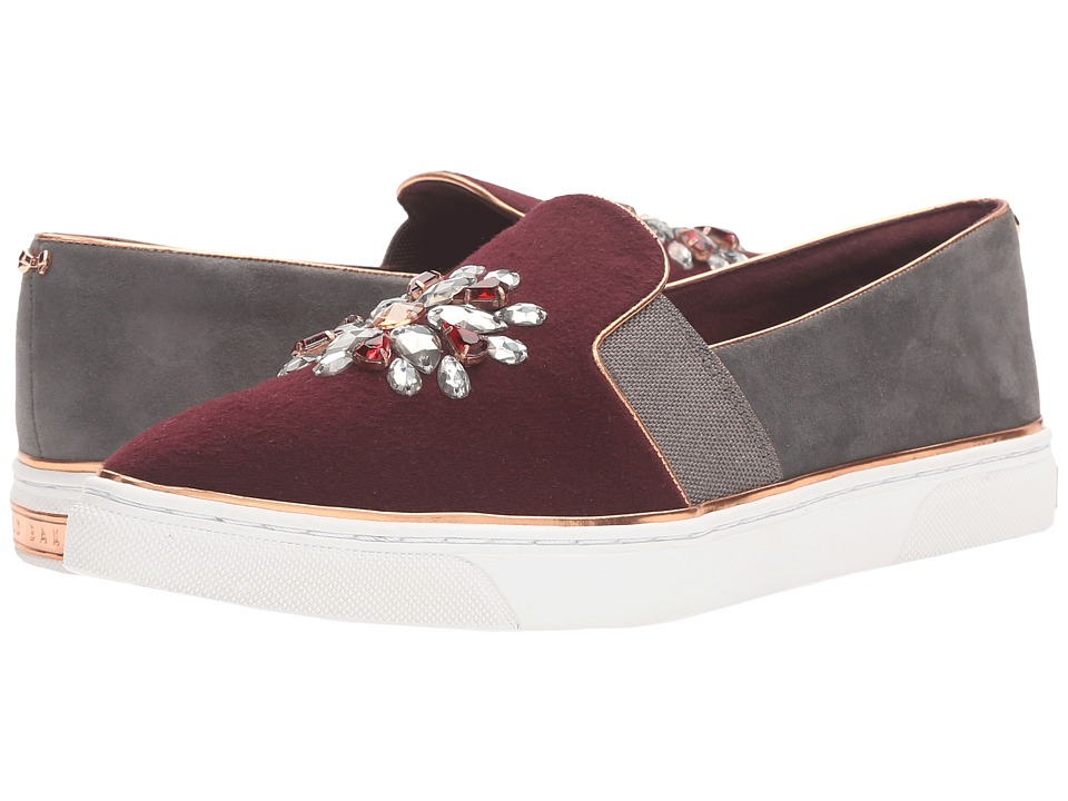 Ted Baker - Gheyn (Burgundy/Dark Grey Wool/Suede) Women's Shoes