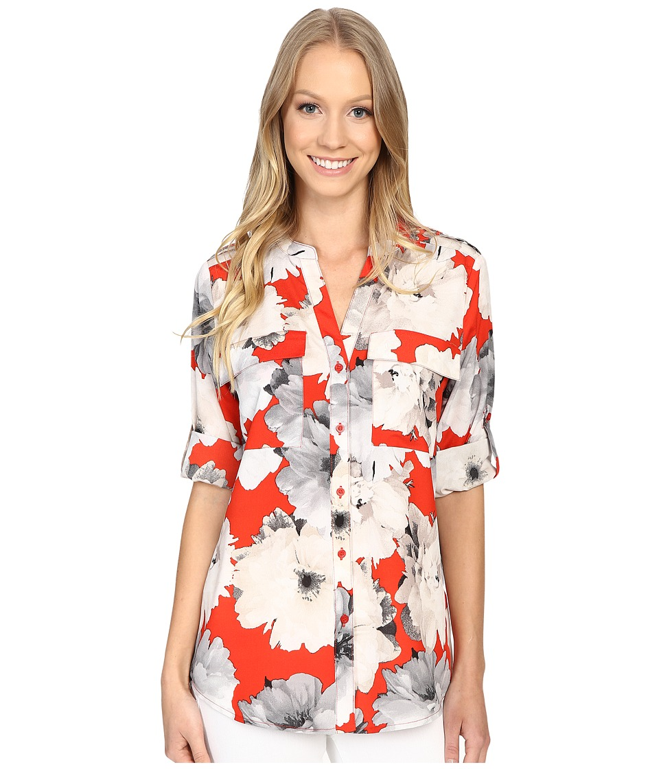 Calvin Klein - Printed Roll Sleeve Blouse (Tango Multi) Women's Blouse