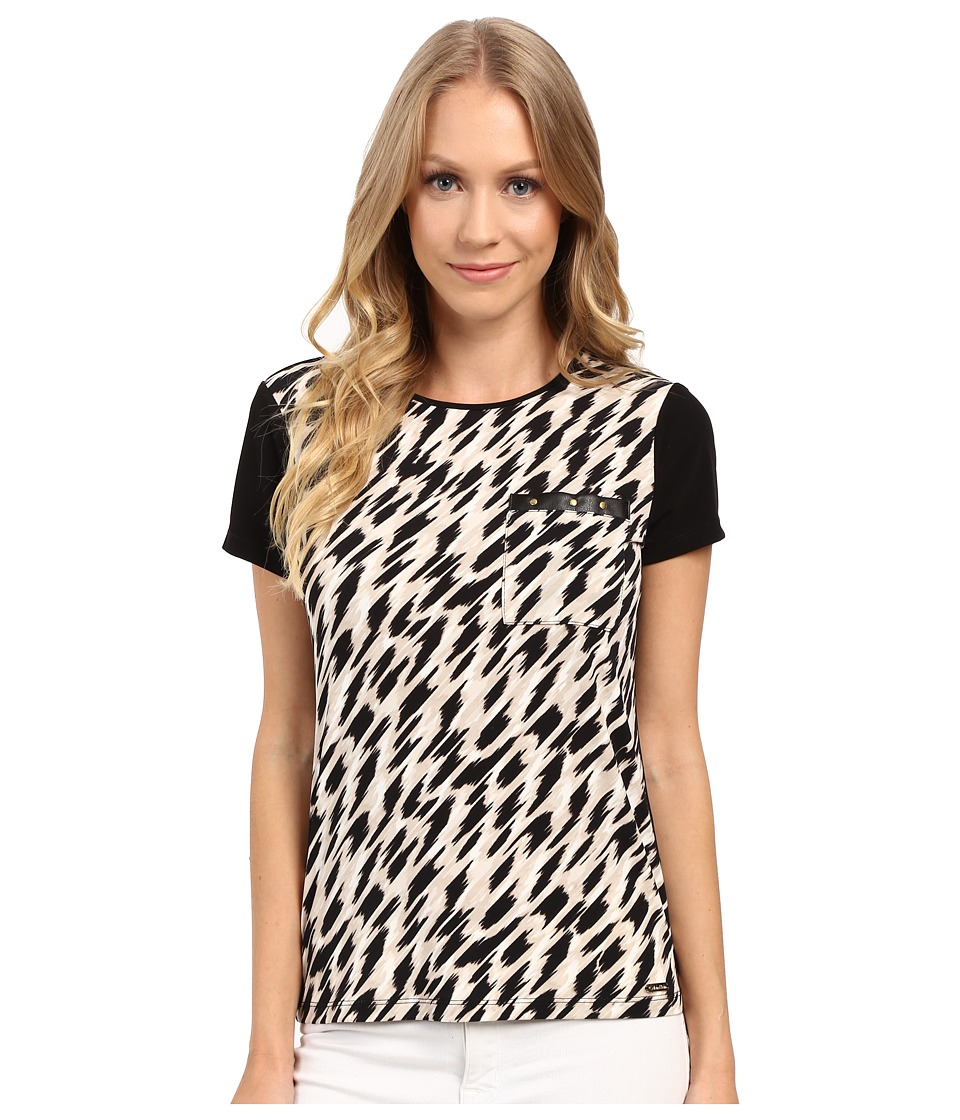 Calvin Klein - Short Sleeve Top w/ Faux Leather and Studs (Black/Latte Combo) Women's Short Sleeve Knit