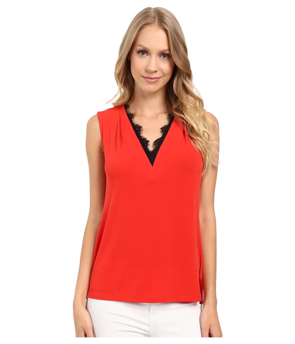 Calvin Klein - Sleeveless Top w/ Lace Trim (Tango Red) Women's Sleeveless