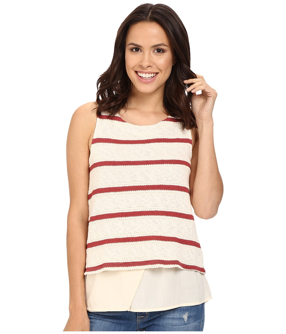 Splendid - Tucson Striped Loose Knit Tank Top (Brick Red) Women's Sleeveless