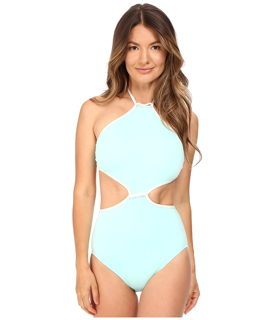 Kate Spade New York - Cut Out High Neck Maillot (Caribbean Sky) Women's Swimsuits One Piece