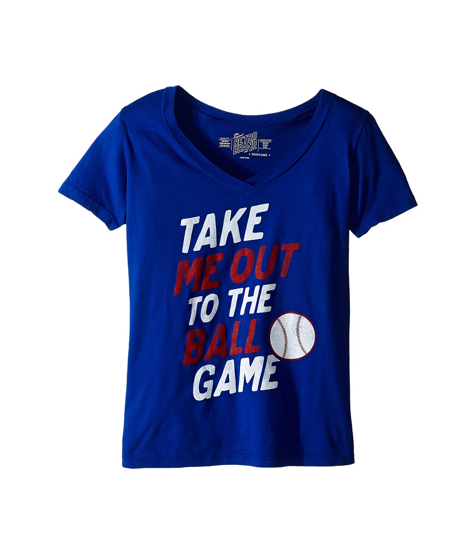 The Original Retro Brand Kids - Take Me Out To The Ballgame V-Neck Tee (Little Kids/Big Kids) (Royal) Girl's Short Sleeve Pullover