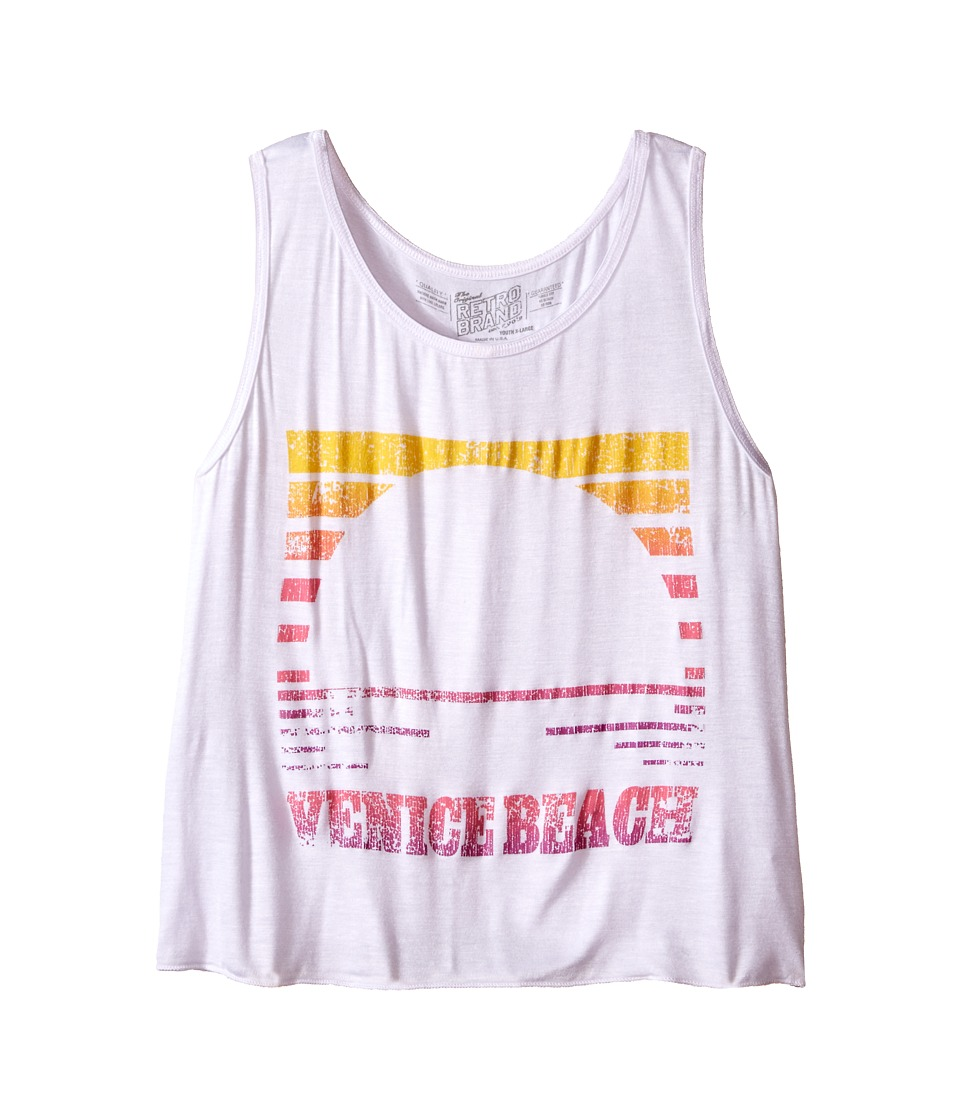 The Original Retro Brand Kids - Venice Beach Tank Top (Little Kids/Big Kids) (Rayon White) Girl's Sleeveless