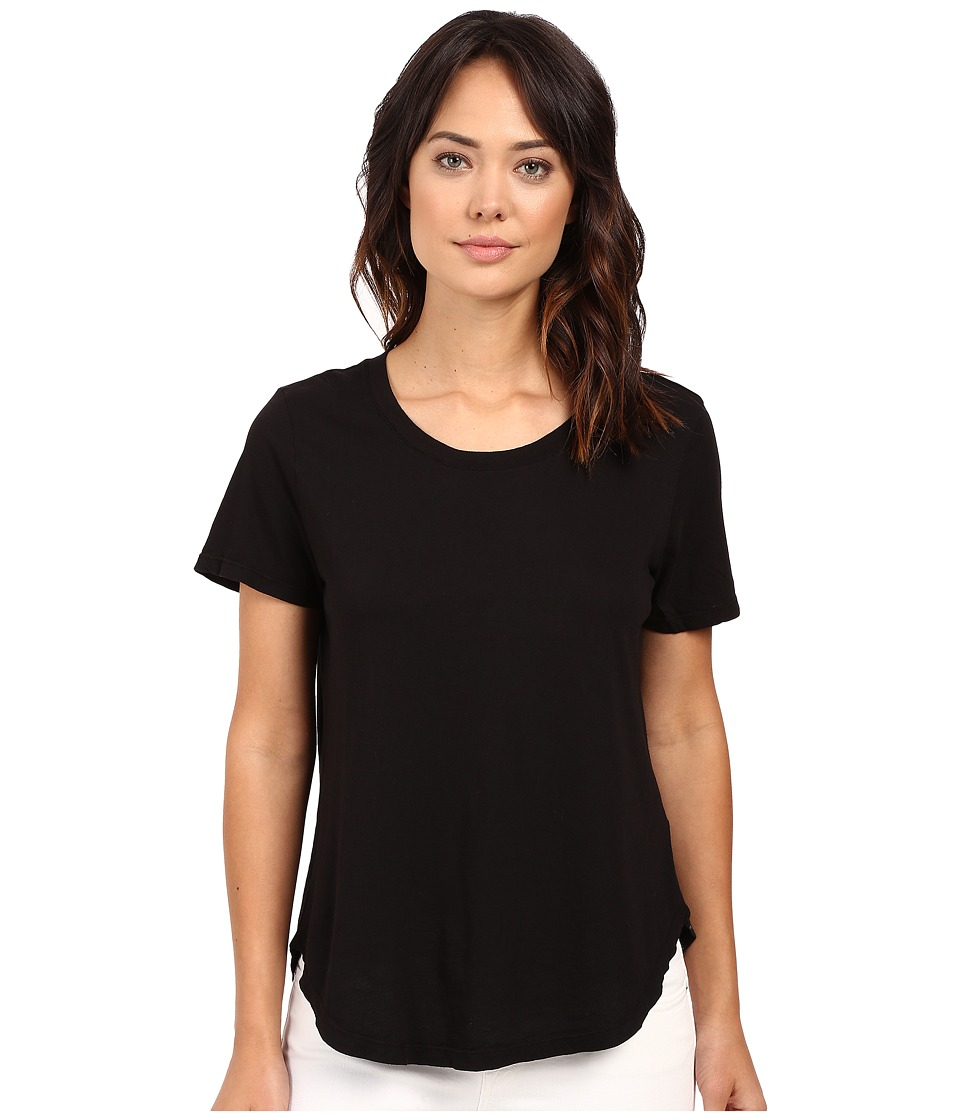 Splendid - Modal Cotton Jersey Scoop Tee (Black) Women's T Shirt