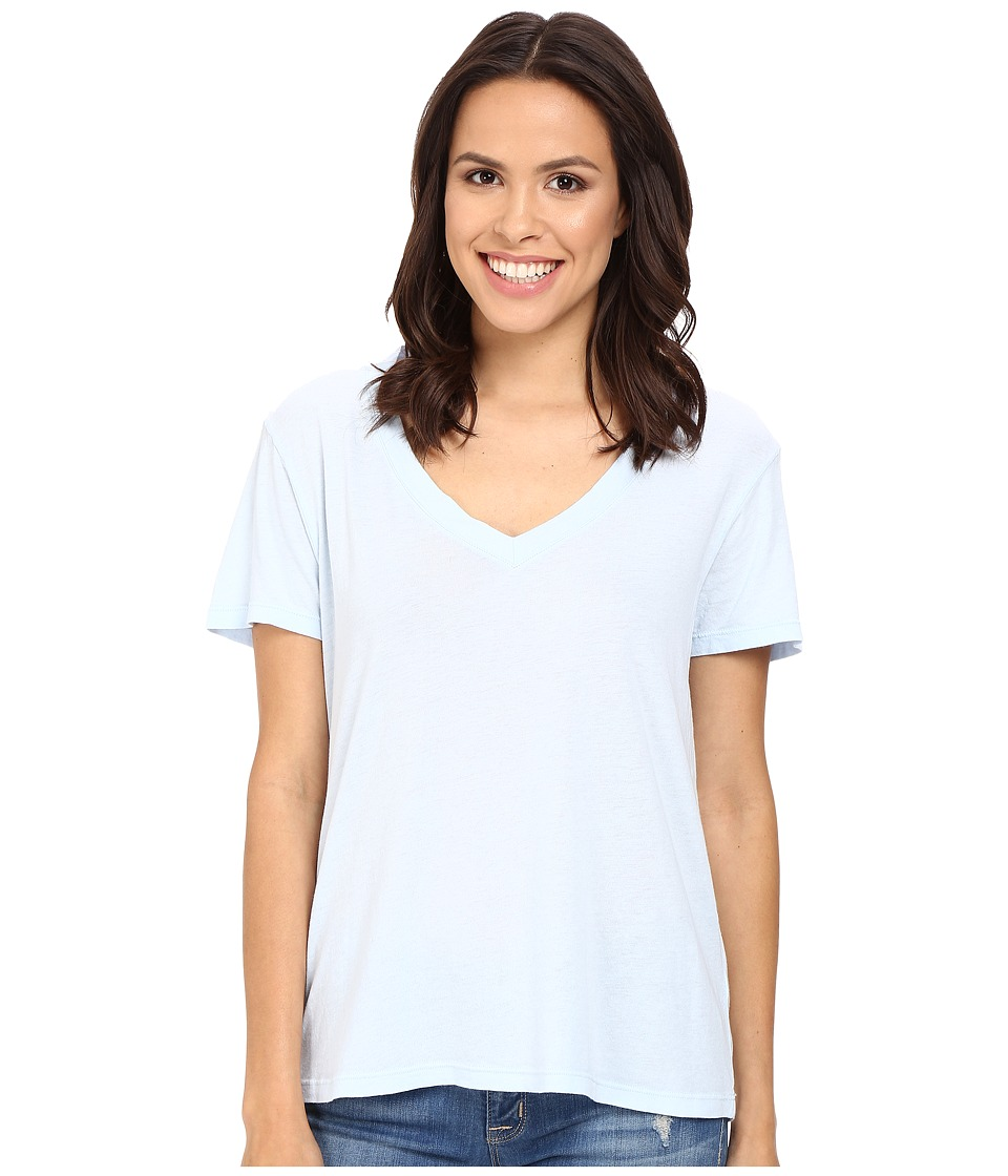 Splendid Modal Cotton Jersey V-Neck Tee (Crystal Blue) Women