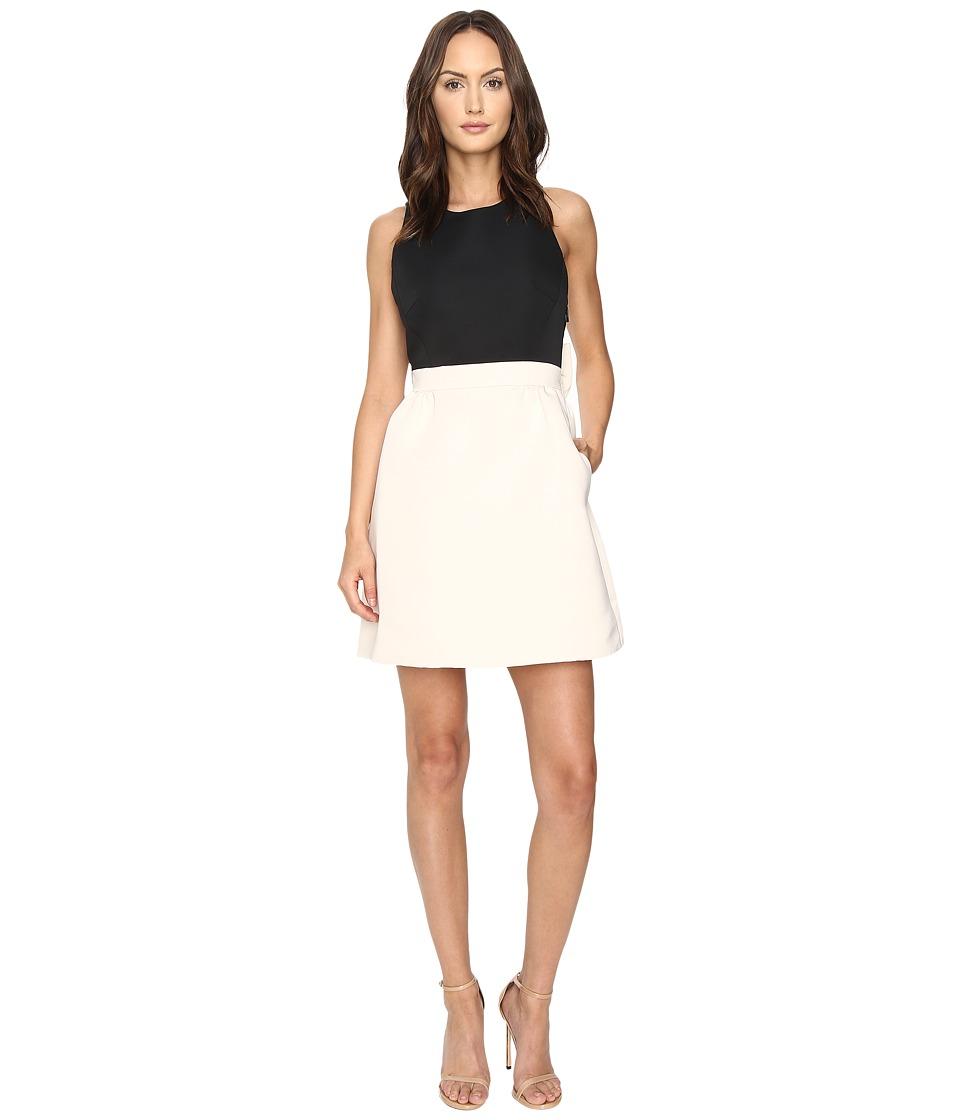 Kate Spade New York - Satin Faille Bow Back Dress (Black/Light Shale) Women's Dress