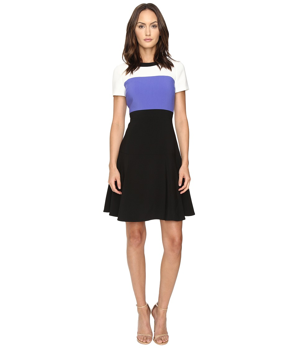 Kate Spade New York - Color Block Crepe Flip Dress (Ensemble Blue/Black) Women's Dress