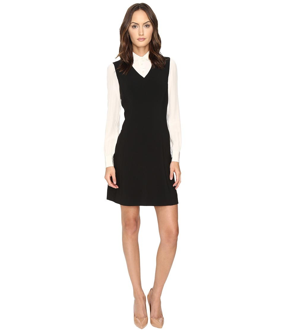 Kate Spade New York - Bow Tie Crepe A-Line Dress (Light Shale/Black) Women's Dress