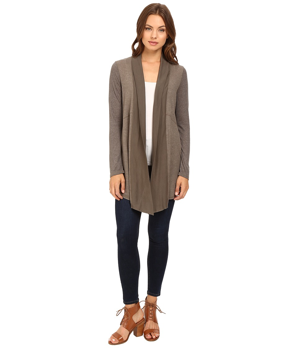 Splendid - Heathered Thermal Cardigan (Military Olive) Women's Sweater