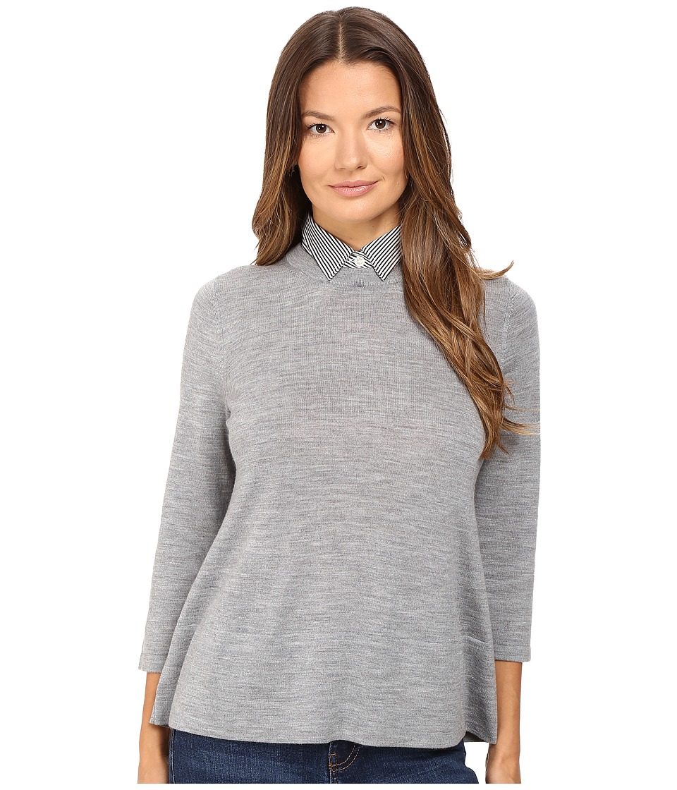 Kate Spade New York - Collared Relaxed Sweater (Miles Grey Melange) Women's Sweater