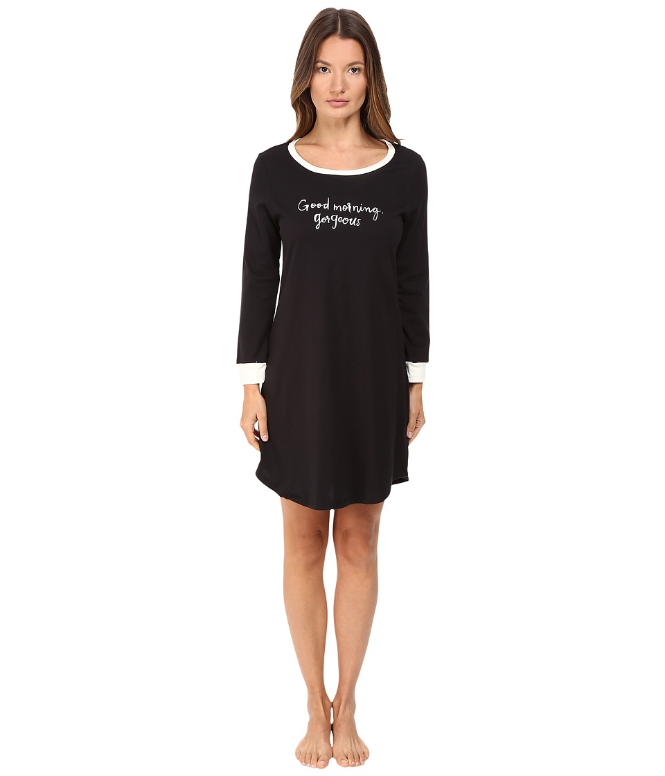 Kate Spade New York - Brushed Jersey Sleepshirt (Black Good Morning Gorgeous) Women's Pajama