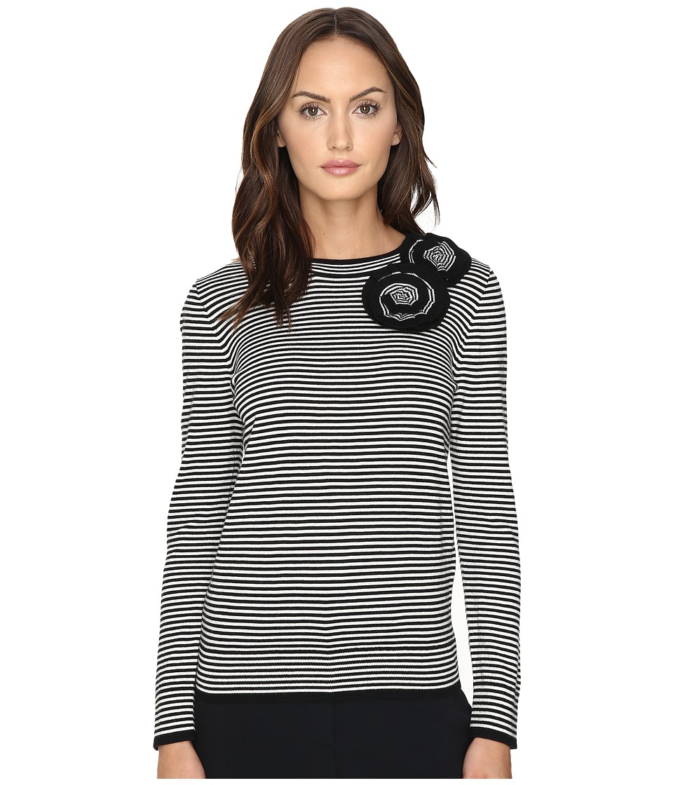 Kate Spade New York - Rosette Stripe Sweater (Black) Women's Sweater