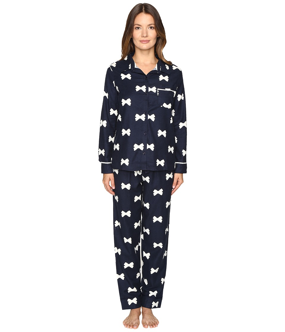 Kate Spade New York - Packaged Flannel Pajama Set (Bow Tie Large Navy) Women's Pajama Sets