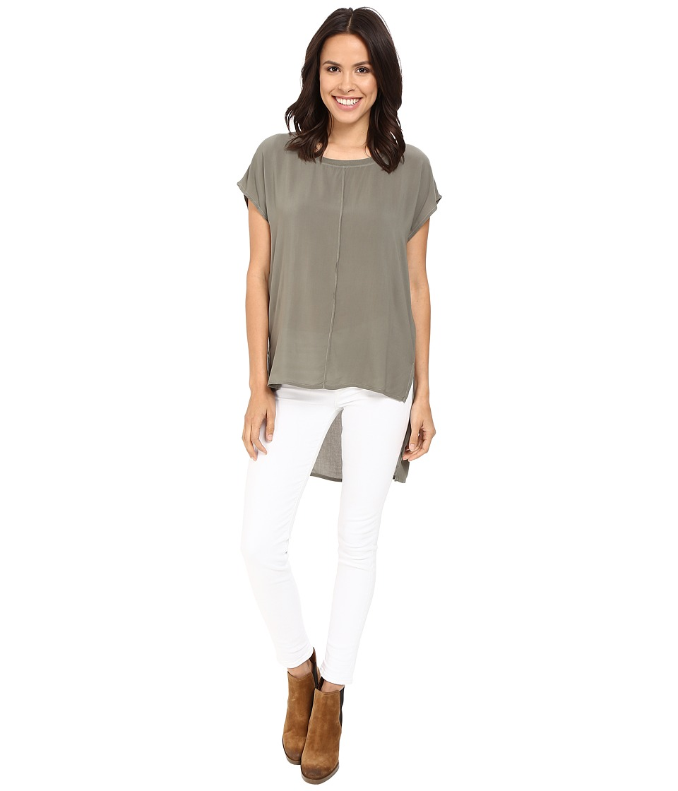 Splendid - Rayon Voile Stairstep Blouse (Military Olive) Women's Blouse