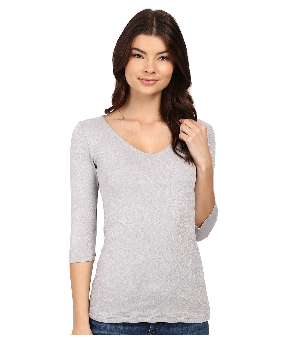 Michael Stars - Shine 3/4 Sleeve Double Front V-Neck (Oyster) Women's Long Sleeve Pullover