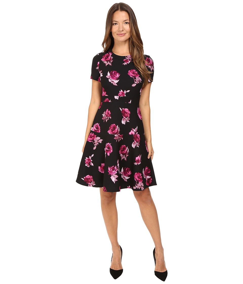 Kate Spade New York - Encore Rose Crepe Dress (Black) Women's Dress
