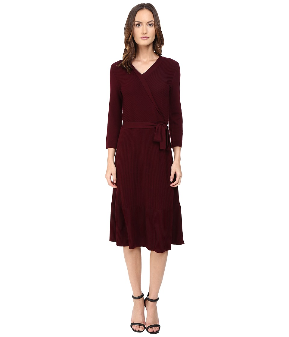 Kate Spade New York - Rib Knit Wrap Dress (Midnight Wine) Women's Dress