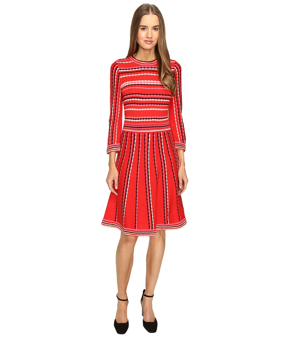 Kate Spade New York - Scallop Stripe Knit Dress (Persimmon Grove Multi) Women's Dress