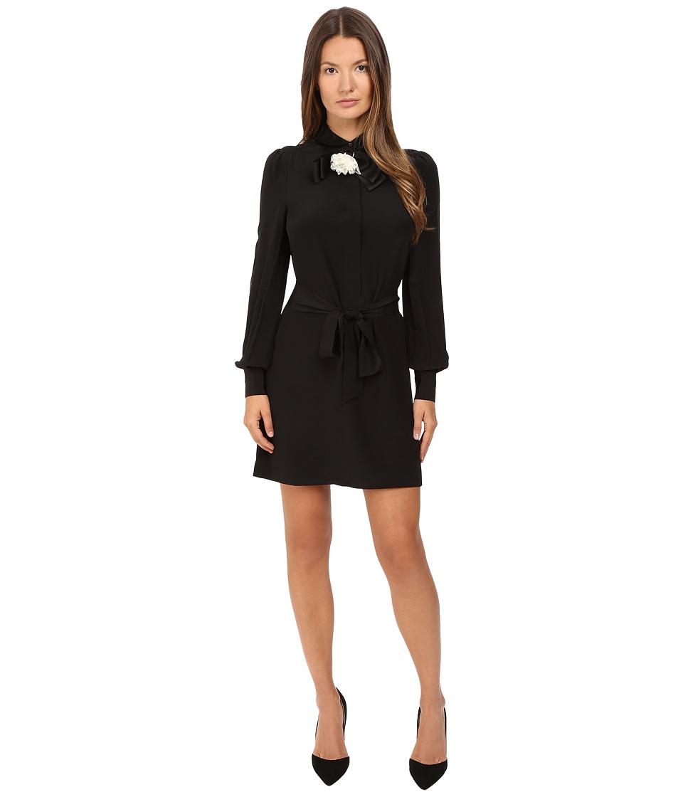 Kate Spade New York - Rosette Bow Shirtdress (Black) Women's Dress