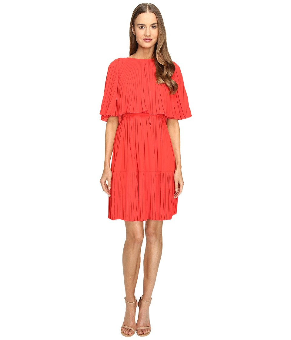 Kate Spade New York - Pleated Cape Dress (Persimmon Grove) Women's Dress