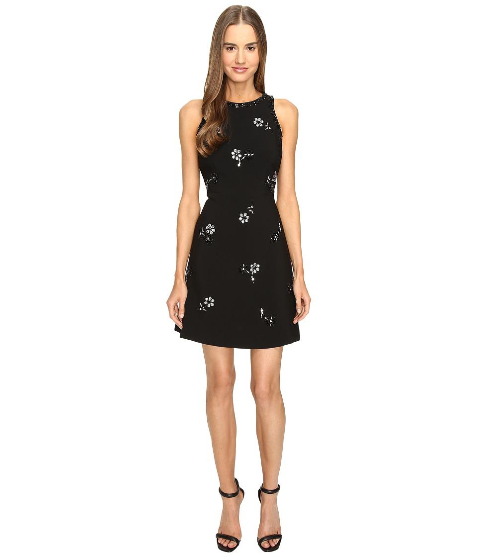 Kate Spade New York - Scattered Brooch Crepe Dress (Black) Women's Dress