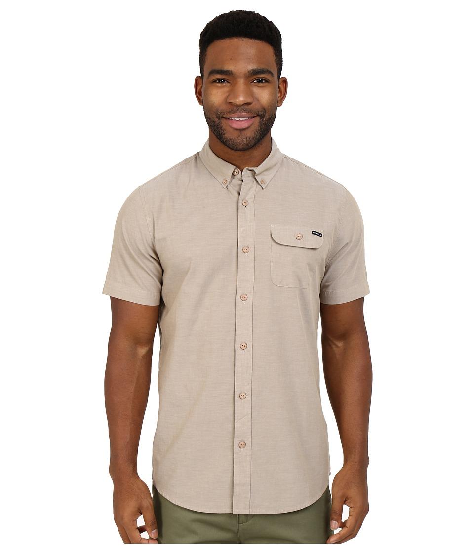 O'Neill - Emporium Solid Short Sleeve Wovens (Dark Khaki) Men's Short Sleeve Button Up