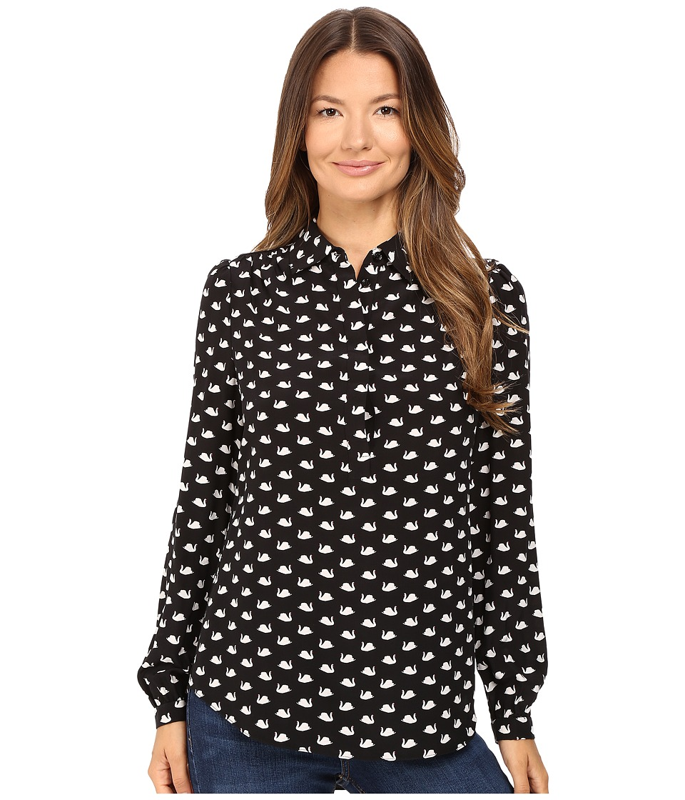 Kate Spade New York - Swans Shirt (Black Multi) Women's Clothing