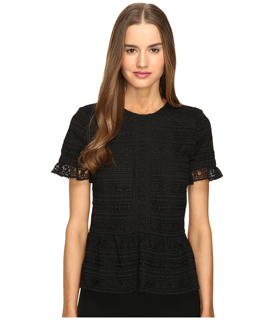 Kate Spade New York - Mixed Lace Top (Black) Women's Clothing