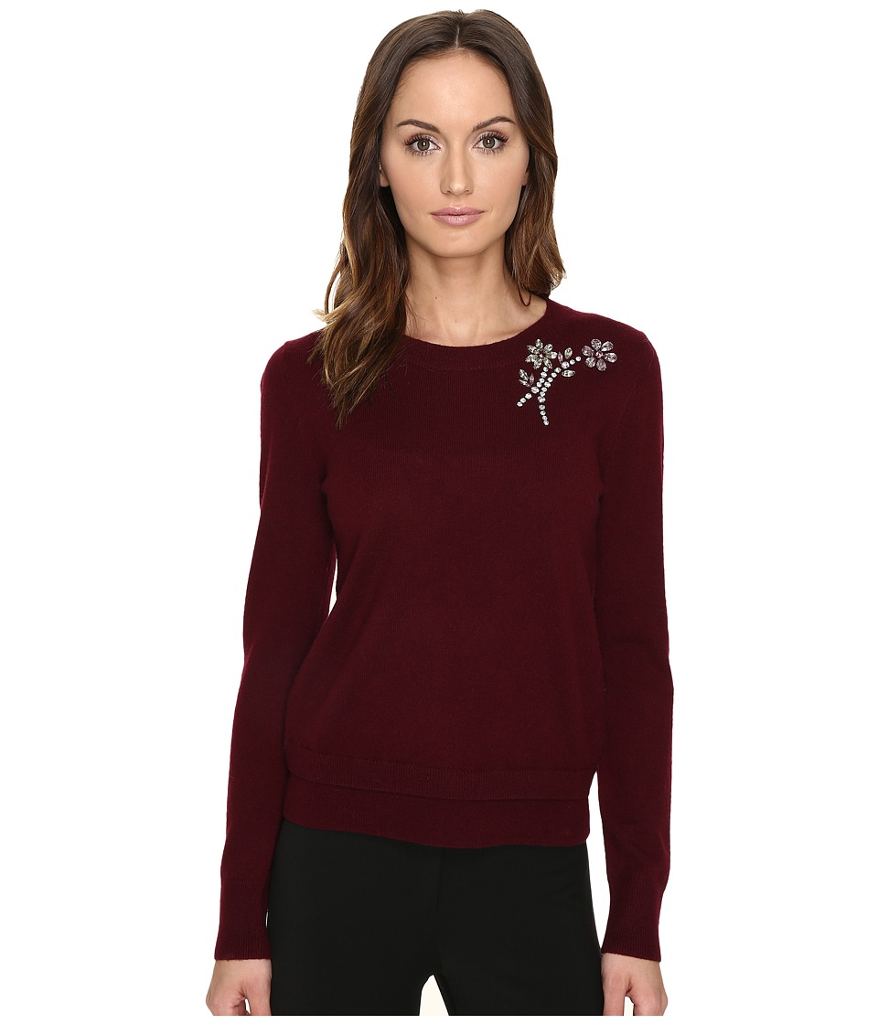 Kate Spade New York Embellished Brooch Sweater (Midnight Wine) Women