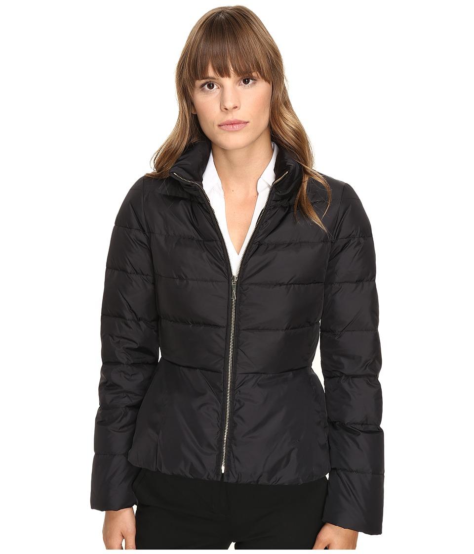 Kate Spade New York - Peplum Puffer Jacket (Black) Women's Coat