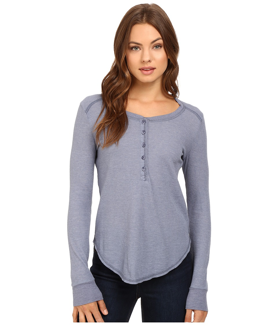 Splendid - Heathered Thermal Henley (Smokey Blue) Women's Clothing